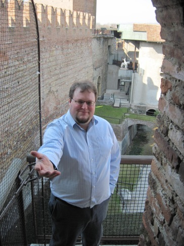 Hans Offers his Hand at Castelvecchio in March (Verona, Italy)
